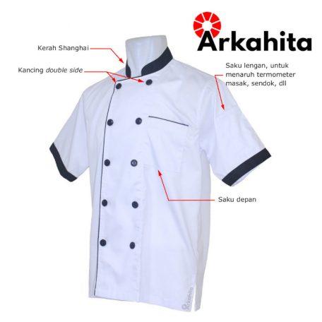 Baju Chef atau Baju Koki Lengan Pendek Putih Kombinasi CS103-2