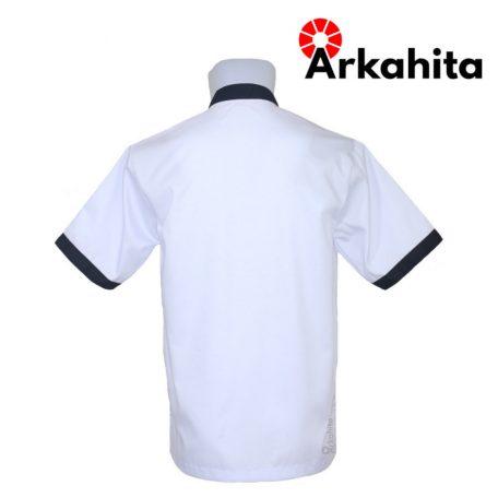 Baju Chef atau Baju Koki Lengan Pendek Putih Kombinasi CS103-3