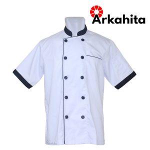Baju Chef atau Baju Koki Lengan Pendek Putih Kombinasi CS103