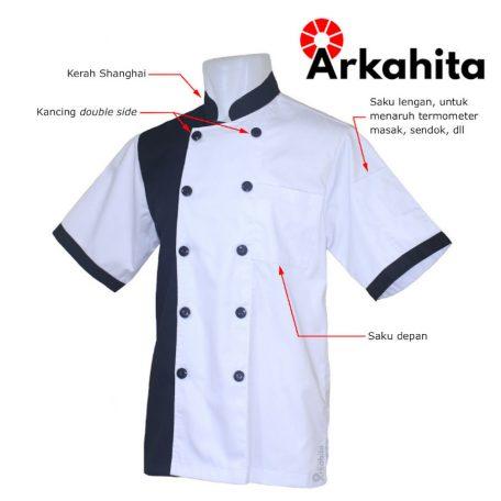 Baju Chef atau Baju Koki Lengan Pendek Putih Kombinasi Hitam CS105-2a
