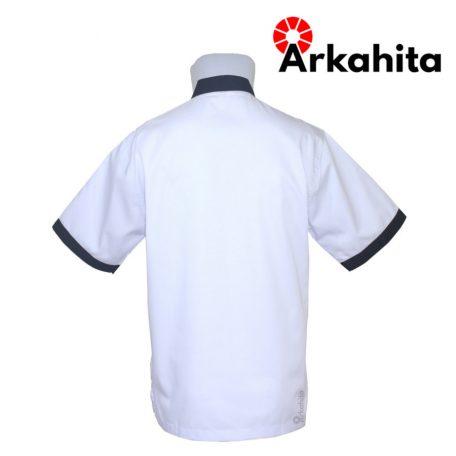 Baju Chef atau Baju Koki Lengan Pendek Putih Kombinasi Hitam CS105-3