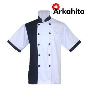 Baju Chef atau Baju Koki Lengan Pendek Putih Kombinasi Hitam CS105