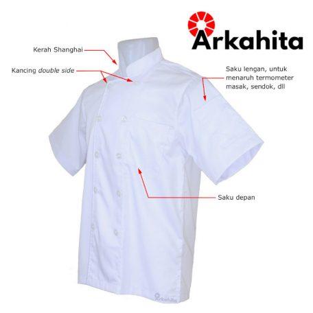 Baju Chef atau Baju Koki Lengan Pendek Putih Polos CS101-2a