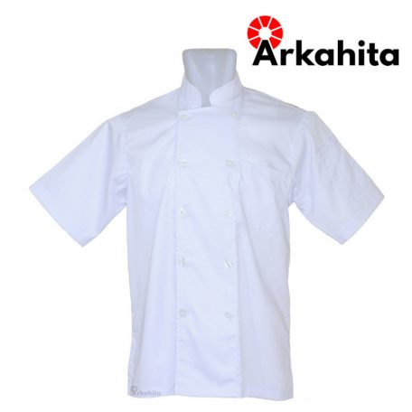 Baju Chef atau Baju Koki Lengan Pendek Putih Polos CS101