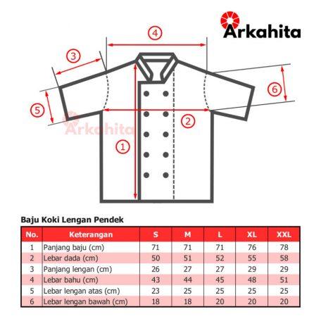Tabel Baju Koki atau Baju Chef Lengan Pendek