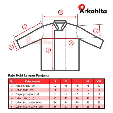 Tabel Baju Koki lengan panjang tanpa kancing
