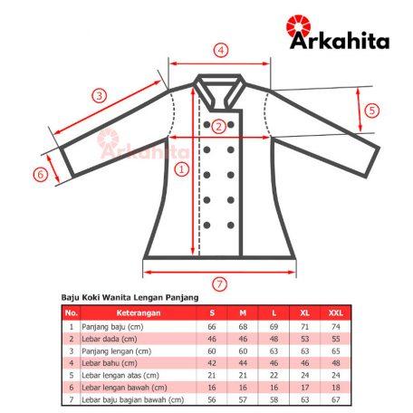 Tabel Ukuran Baju Chef Wanita Lengan Panjang