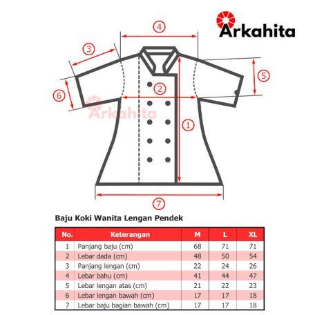 Tabel Ukuran Baju Koki Wanita Lengan Pendek