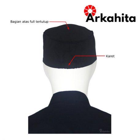 Topi Chef atau Topi Koki Skull Cap Hitam-4