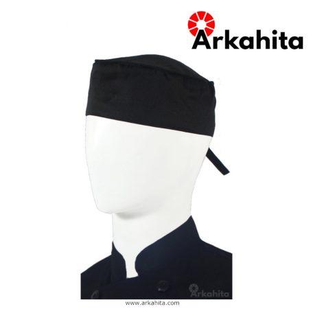Topi Chef atau Topi Koki Skull Cap Bertali Hitam-2