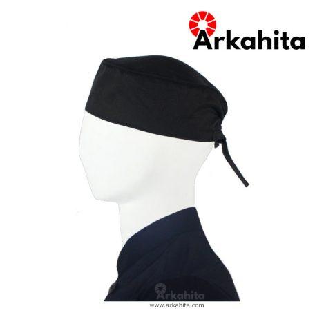 Topi Chef atau Topi Koki Skull Cap Hitam Bertali-3