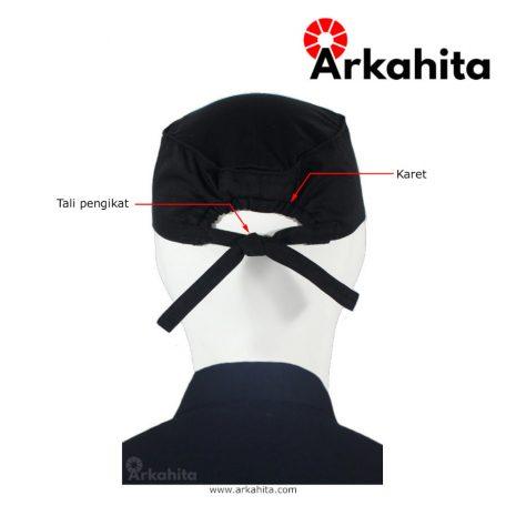 Topi Chef atau Topi Koki Skull Cap Hitam Bertali-4